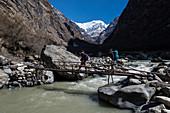 Trekker on the way to Machapuchare base camp, Nepal, Himalayas, Asia.