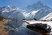 Meltwater lake en route to Annapurna Base Camp. Opposite the Machapuchare, Nepal, Himalayas, Asia.