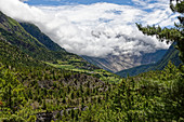 Near Pisang in the Manang Valley, Nepal, Himalayas, Asia.