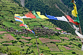 The villages in the valley of Manang, Nepal, Himalayas, Asia open up beautiful paths.
