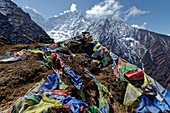 Prayer flags above the Tengboche monastery in Solo Khumbu, Nepal, Himalayas, Asia.