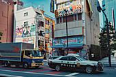 Police car in Akihabara's Hokuriku, Toyko, Japan