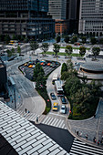 View of traffic in front of Tokyo Station, the main train station in Tokyo, Japan