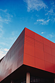 Image of the red cube of the university, Munich, Germany