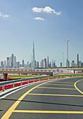 Skyline from a highway entrance, Dubai, United Arab Emirates