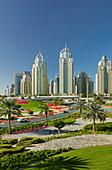 Green motorway junction, palm trees, Sheikh Zayed Road, near Dubai Marina, Dubai, United Arab Emirates
