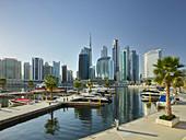 Downtown Dubai from a marina in Dubai Creek, Al Noor Tower, Dubai, United Arab Emirates