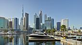 Downtown Dubai from a marina in Dubai Creek, Dubai, United Arab Emirates