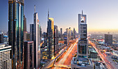 View over Sheikh Zayed Road to Chelsea Tower, Dubai, United Arab Emirates