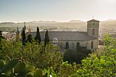 Blick vom Santuari de Sant Salvador, Kirche Transfiguració del Senyor, Artà, Mallorca, Balearen, Katalonien, Spanien