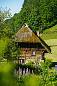 Strohgedeckte Mühle mit Bauerngarten, Oberprechtal bei Elzach, Schwarzwald, Baden-Württemberg, Deutschland