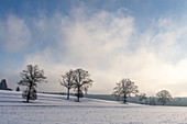 Snow-covered cultural landscape in the Fünfseeenland between Lake Starnberg and Ammersee, Bavaria, Germany