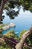 Close-up view from above to the sea in Capri, Italy