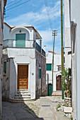 Village streets with white houses in Anacapri, Capri, Italy