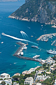 View from above to the Marina Grande in Capri, Italy