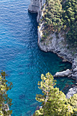 View at the sea from viewing point Arco Naturale, in Capri, Italy