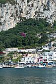 View from the sea at Marina Grande in Capri, Italy