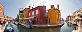 Canal Fondamenta Pontinello Destro on Burano in the Venetian lagoon, panorama, Veneto, Italy
