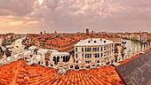 "Canal Grande and Rialto Bridge from the roof terrace ""Tedeschi"" in Venice, Panorama, Veneto, Italy"
