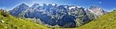 Gross Spannort in the Urner Alps, mountain panorama from the Fürenalp, Stäuber, Engelberg, Switzerland