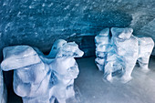 Bear ice sculptures in the ice palace at Jungfraujoch, Valais, Switzerland