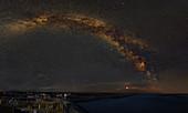 Milky Way in the harbor at night, Dagebüll, Schleswig-Holstein, Germany