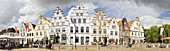 Gabled houses, Altstad, market square, panorama, Friedrichstadt, Schleswig-Holstein, Germany