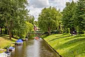 Central canal Mittelburggraben, Friedrichstadt, Schleswig-Holstein, Germany