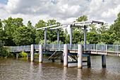 The Blue Bridge over the Westersielzug, Friedrichstadt, Schleswig-Holstein, Germany