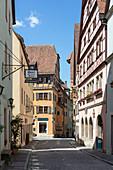 Old town Georgengasse in Rothenburg ob der Tauber, Middle Franconia, Bavaria, Germany