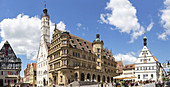 Market square in Rothenburg ob der Tauber, Panorama, Middle Franconia, Bavaria, Germany
