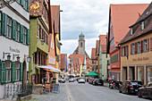 Segringer Strasse and Minster St. Georg in Dinkelsbühl, Middle Franconia, Bavaria, Germany