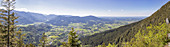 View from Birkenstein in west direction to Fischbachau, panorama, Bavaria, Germany