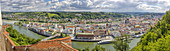 View from Hackelberg to Passau, Panorama, Bavaria, Germany