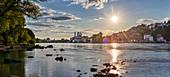 View from Innstadt am Ufer on Passau at sunset, Danube, Inn, Panorama, Bavaria, Germany