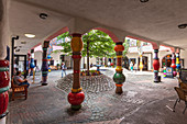 In the courtyard of the Hundertwasserhaus in Magdeburg, Saxony-Anhalt, Germany