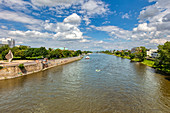The Elbe in Magdeburg from the Strombrücke downstream, Saxony-Anhalt, Germany