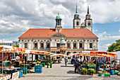 Market in front of the town hall of Magdeburg, Saxony-Anhalt, Germany