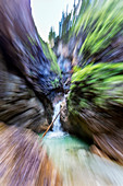 Almbachklamm in the Berchtesgaden Alps with zoom drive, Bavaria, Germany