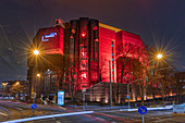 Gasteig with special red lighting, Munich, Bavaria, Germany