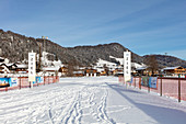 Cross-country skiing destination in Reit im Winkl in winter, Bavaria, Germany