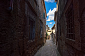 In the alleys of Sorano, Grosseto Province, Tuscany, Italy, Europe