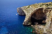 View of the Blue Grotto on the south coast of Malta, Malta, Europe