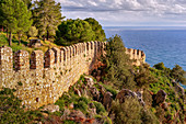 View over the castle wall of Alanya on the Turkish Riviera, Turkey, Western Asia