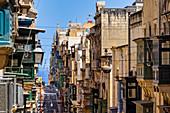In den Straßen von Valletta, Malta, Mittelmeer, Europa