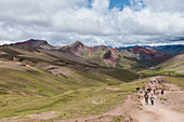 Vinicunca mountain, also known as the Mountain of Seven Colors, or Rainbow Mountain in the Peruvian Andes.