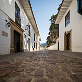 Cobbled street in Villa de Leyva, a small town with traditional colonial architecture