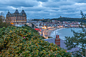 View of South Bay and Scarborough at dusk, Scarborough, North Yorkshire, Yorkshire, England, United Kingdom, Europe