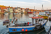 View of riverside houses and fishing boats on River Esk at sunset, Whitby, Yorkshire, England, United Kingdom, Europe