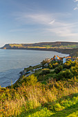 Panoramic view of old fishing village in Robin Hood's Bay, North Yorkshire, England, United Kingdom, Europe